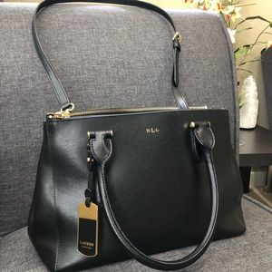 Ralph Lauren Double Zip Satchel - Black